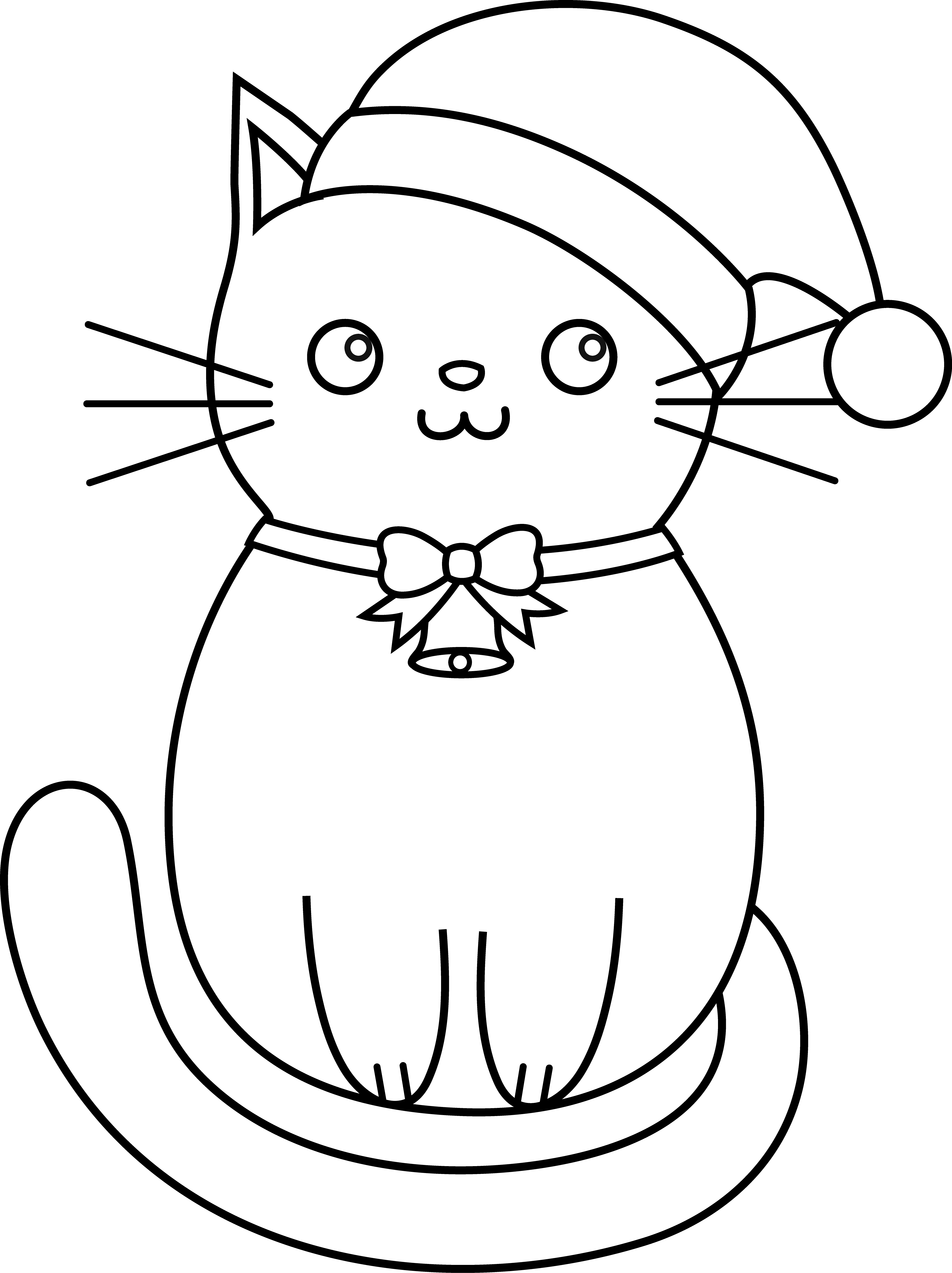 Christmas Cat Coloring Pages With Kitty Lineart Cardssss Pinterest