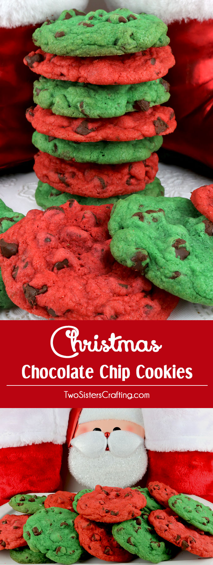 Christmas Colored Cookies With Chocolate Chip Two Sisters