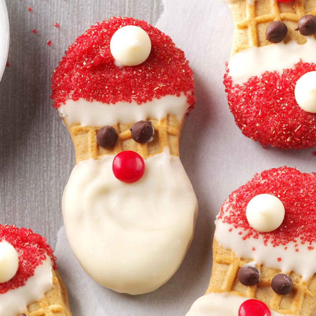 Christmas Colored Cookies With Santa Claus Recipe Taste Of Home