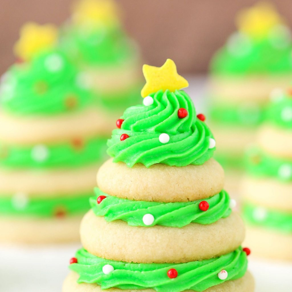 Christmas Colored Desserts With Tree Cookie Stacks