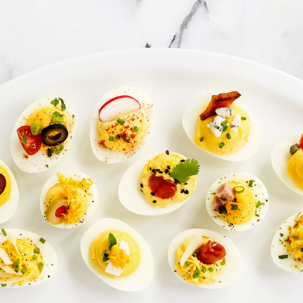 Christmas Colored Deviled Eggs With 12 Ways To Garnish The Pioneer Woman