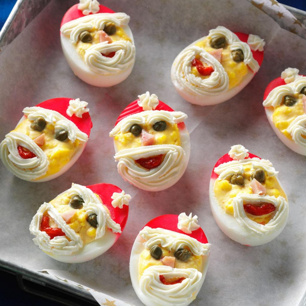 Christmas Colored Deviled Eggs With Santa Recipe Taste Of Home