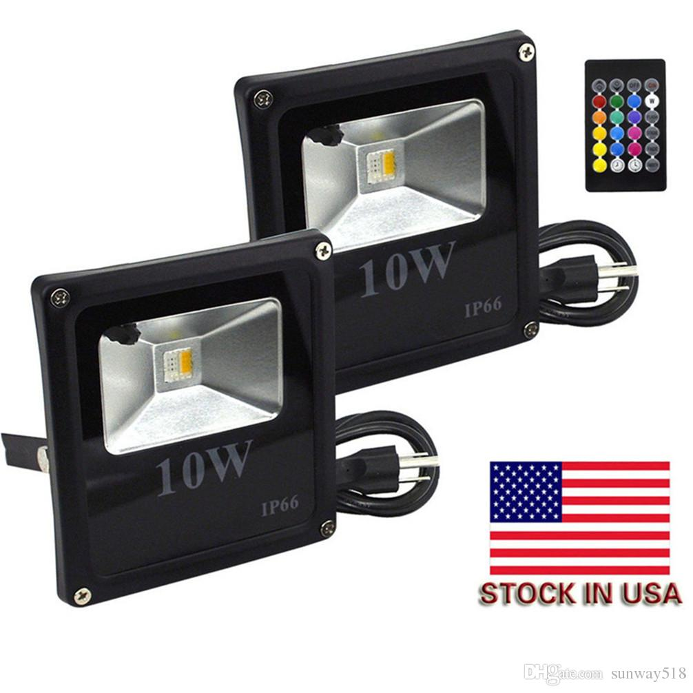 Christmas Colored Flood Lights With Remote Control 10W RGBW LED Color Changing Security