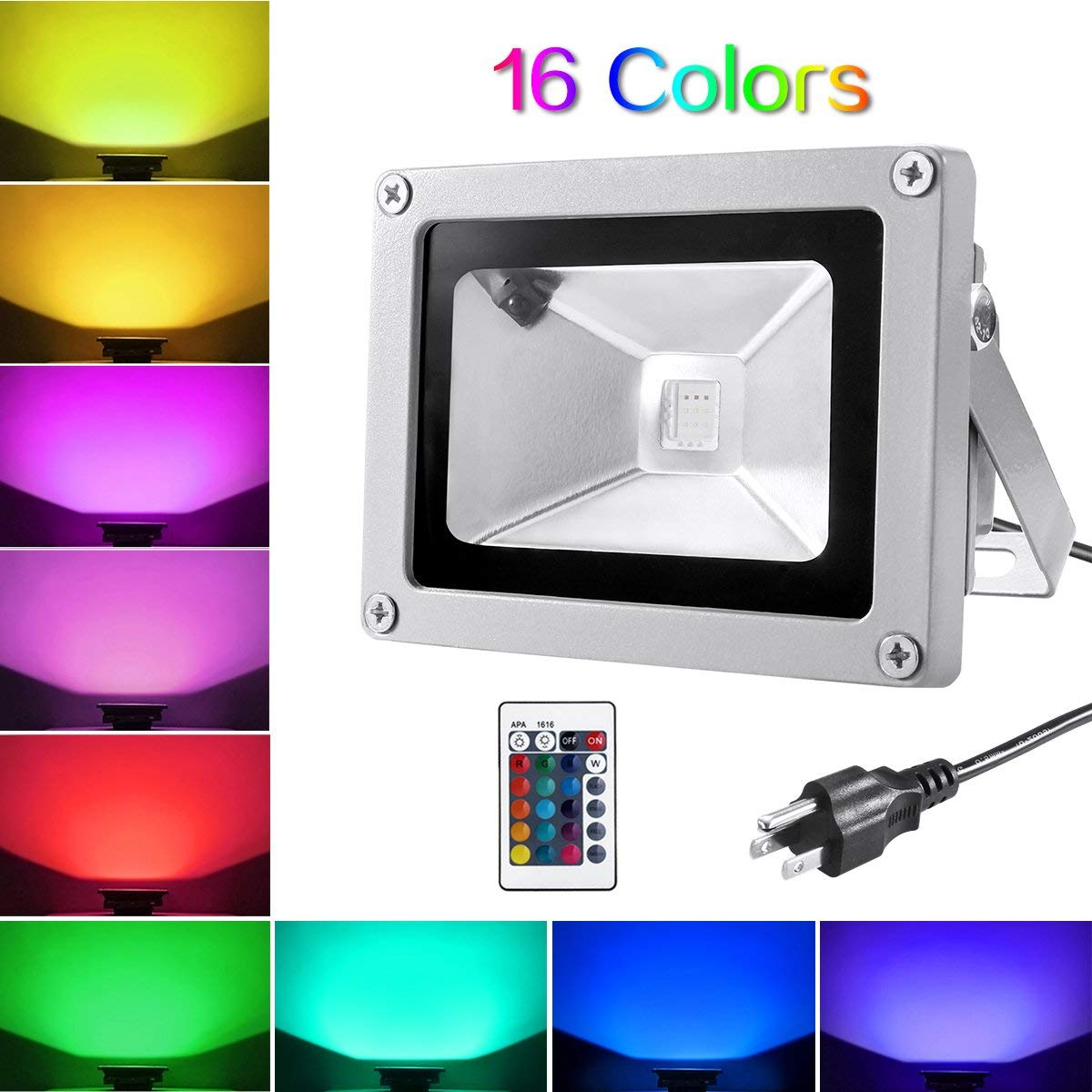 Christmas Colored Flood Lights With Warmoon 10W Waterproof LED Light US 3 Plug And Remote