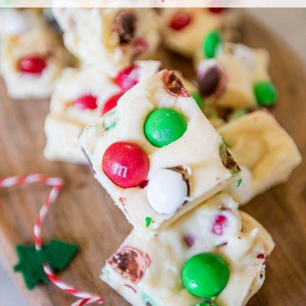 Christmas Colored Fudge With Candy Cookie Dough