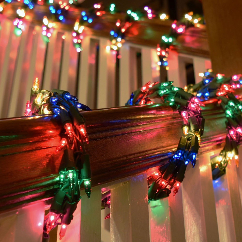 Christmas Colored Garland With 600 Multi Color Cluster Light Set Green Wire