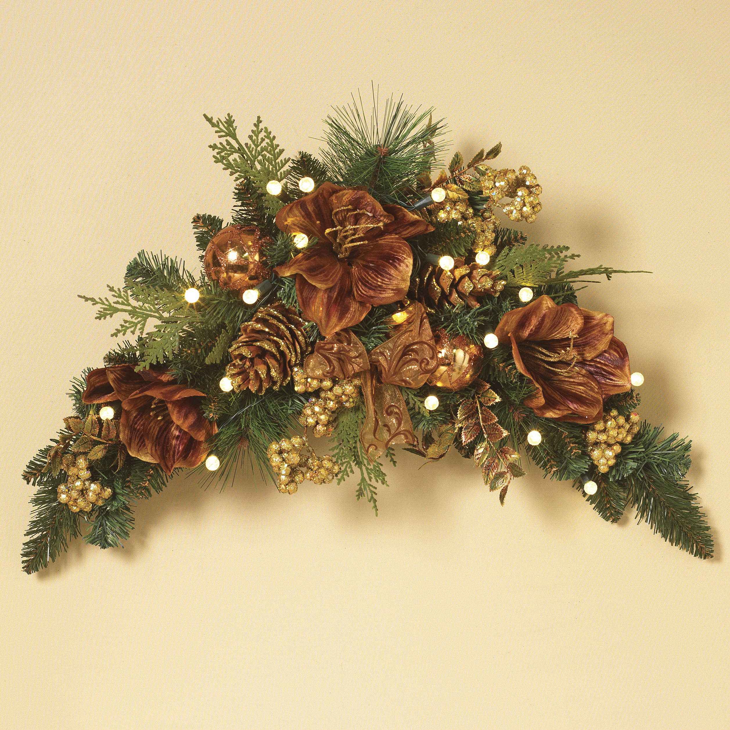 Christmas Colored Garland With Decorative Gilded Prelit LED Swag Warm