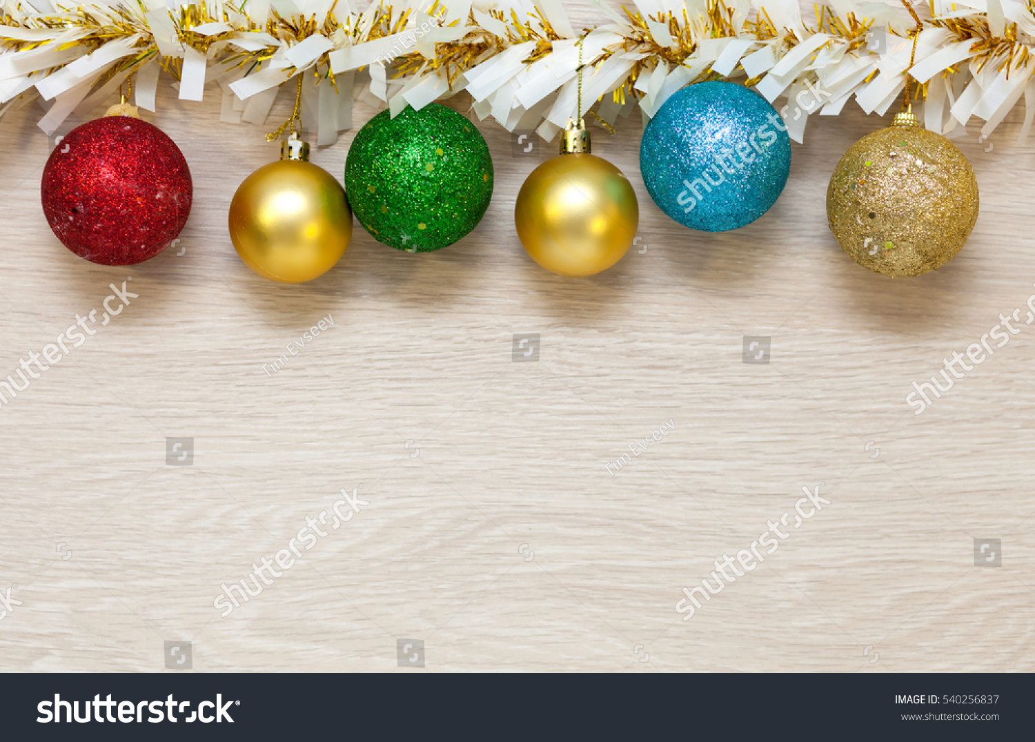 Christmas Colored Garland With Multicolored Balls Tinsel Stock Photo