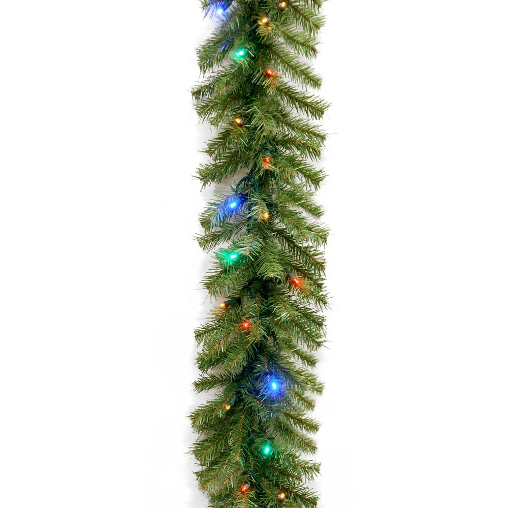 Christmas Colored Garland With Norwood Fir 9 Ft Multicolor LED Lights NF 309L 9A 1