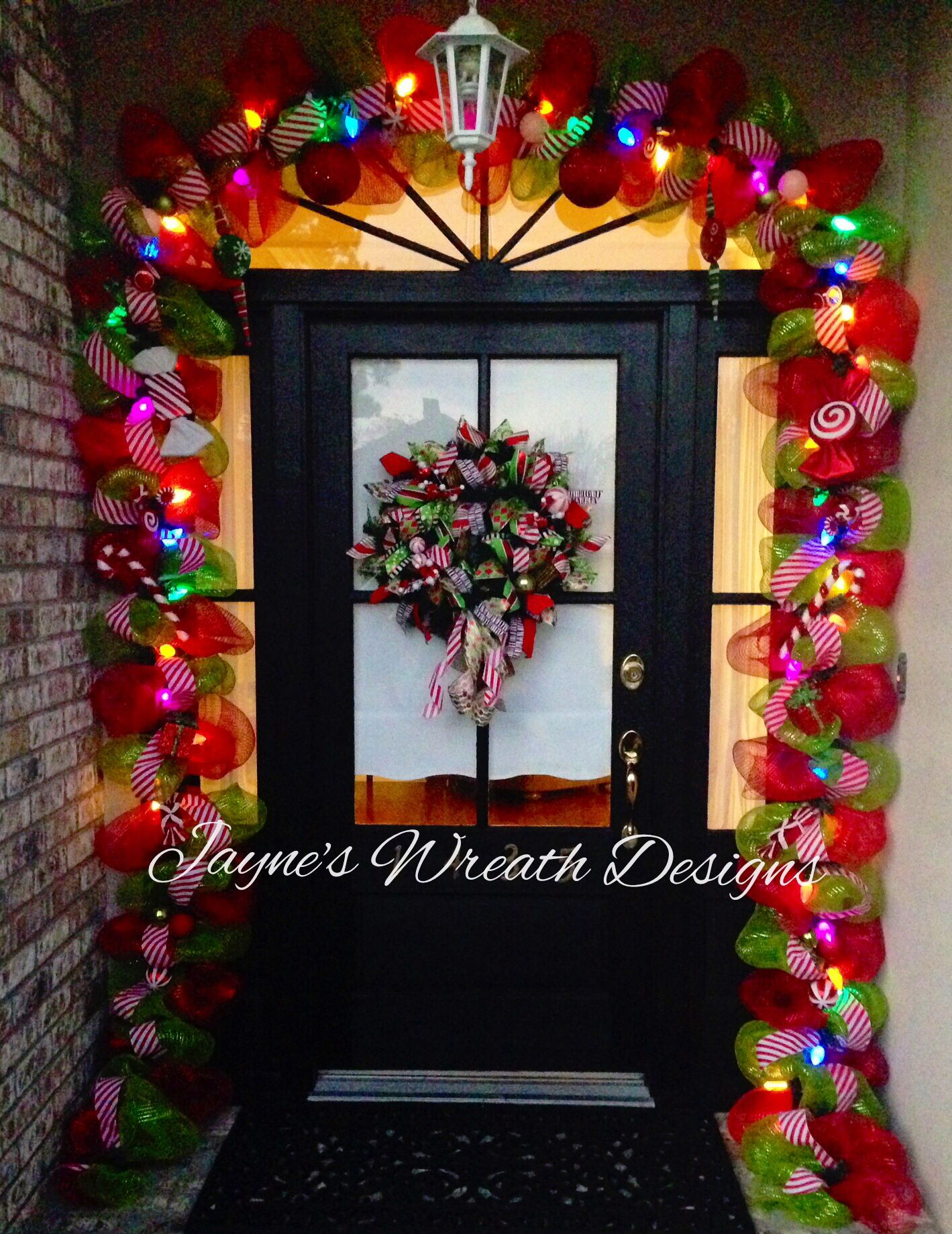 Christmas Colored Garland With Whimsical And Wreath Lights Candy