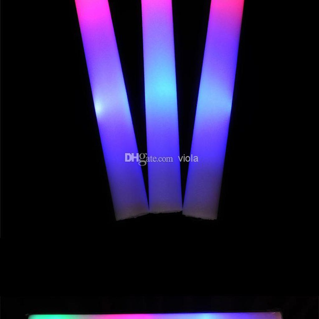 Christmas Colored Glow Sticks With LED Multi Color Material Foam Changing Led Stick