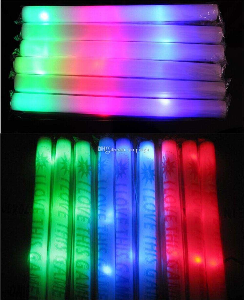 Christmas Colored Glow Sticks With Multi Color Material Foam Changing Led Stick