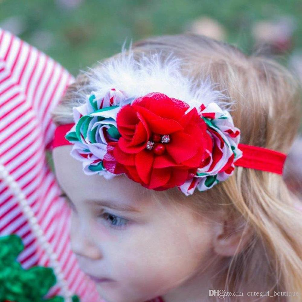 Christmas Colored Hair With Children Accessories Kids Flower Bands Feather