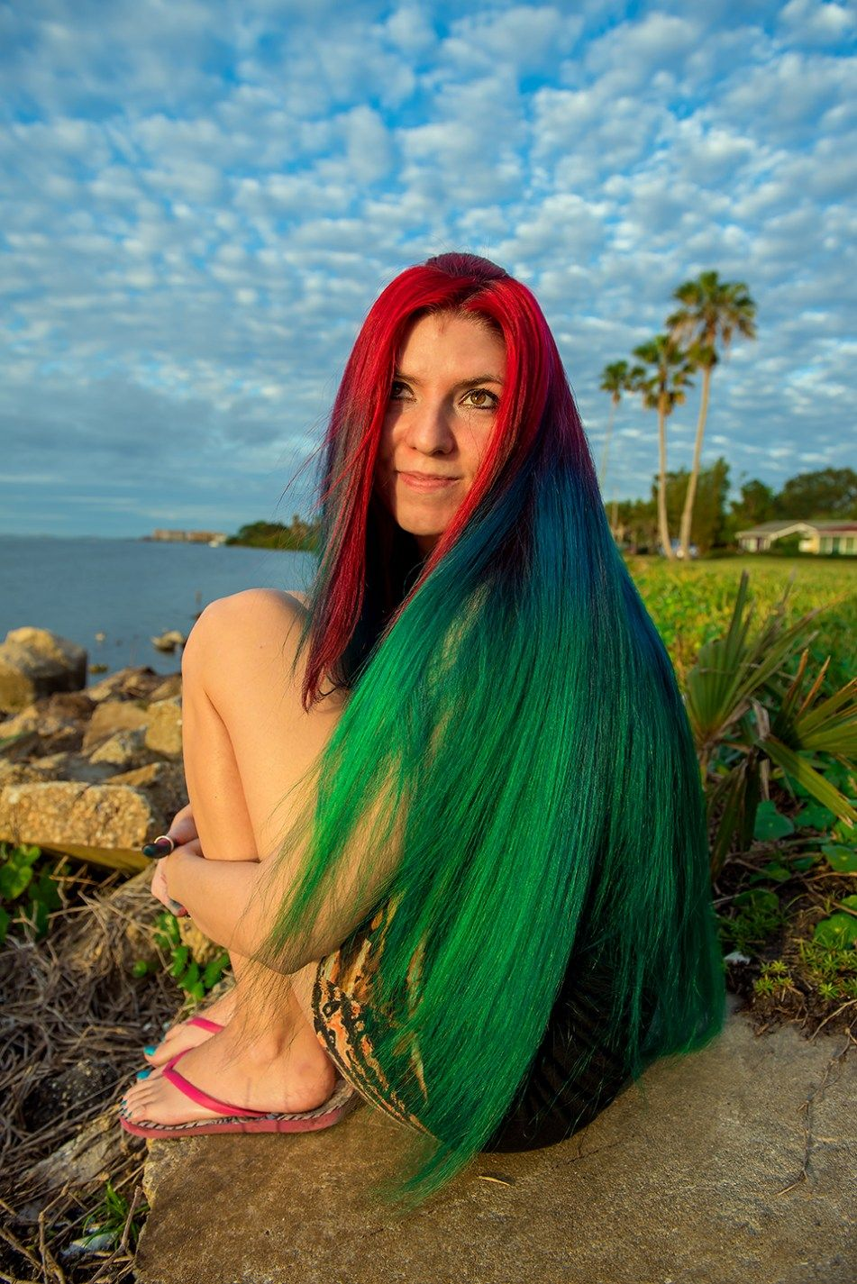 Christmas Colored Hair With Red To Green Gradient 2017 Rainbow Multi