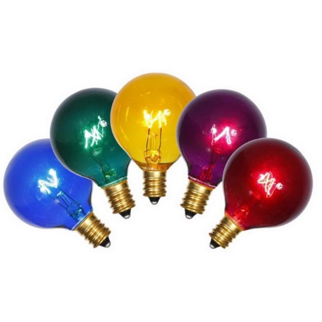 Christmas Colored Light Bulbs With Pack Of 5 Transparent Multi Color G40 Globe Replacement 7 Watts 32275800