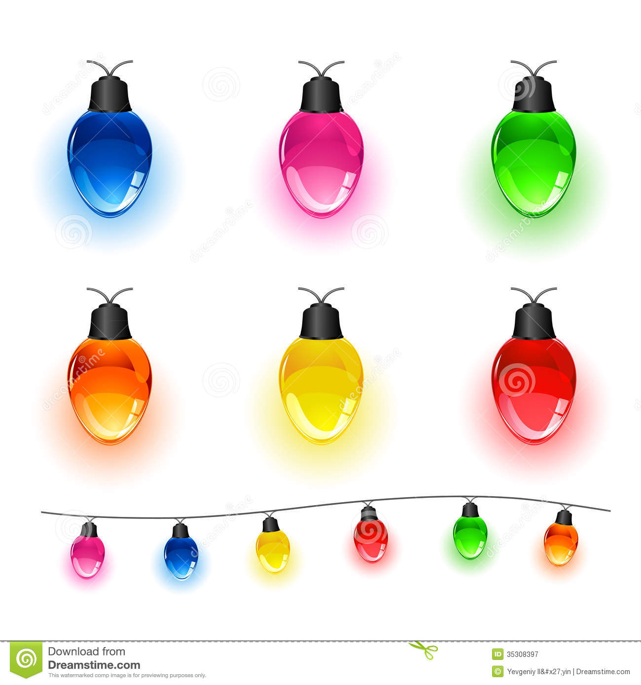 Christmas Colored Light Bulbs With Set Of Stock Vector Illustration Illuminated 35308397