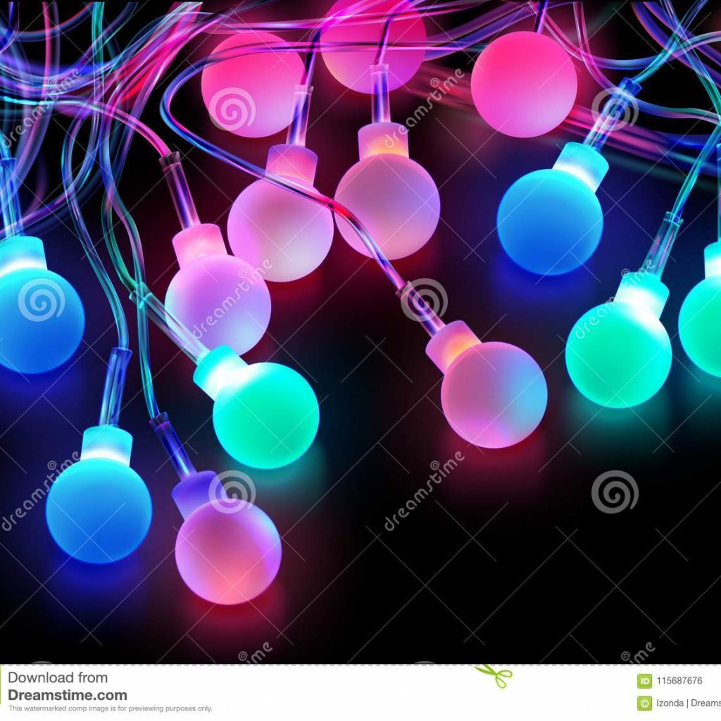 Christmas Colored Light Bulbs With Stock Vector Illustration Of Decoration 115687676