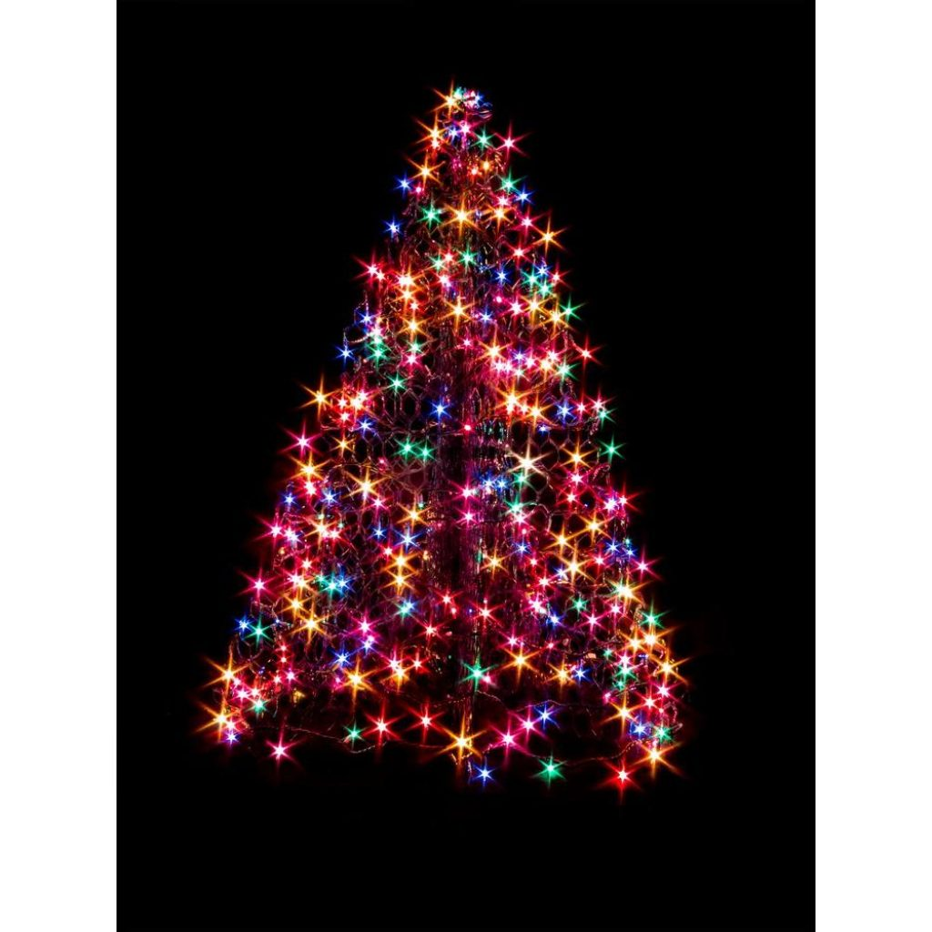 Christmas Colored Lights With Crab Pot Trees 4 Ft Indoor Outdoor Pre Lit LED Artificial