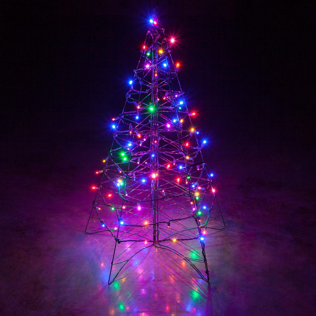 Christmas Colored Lights With Lighted Multicolor LED Outdoor Tree