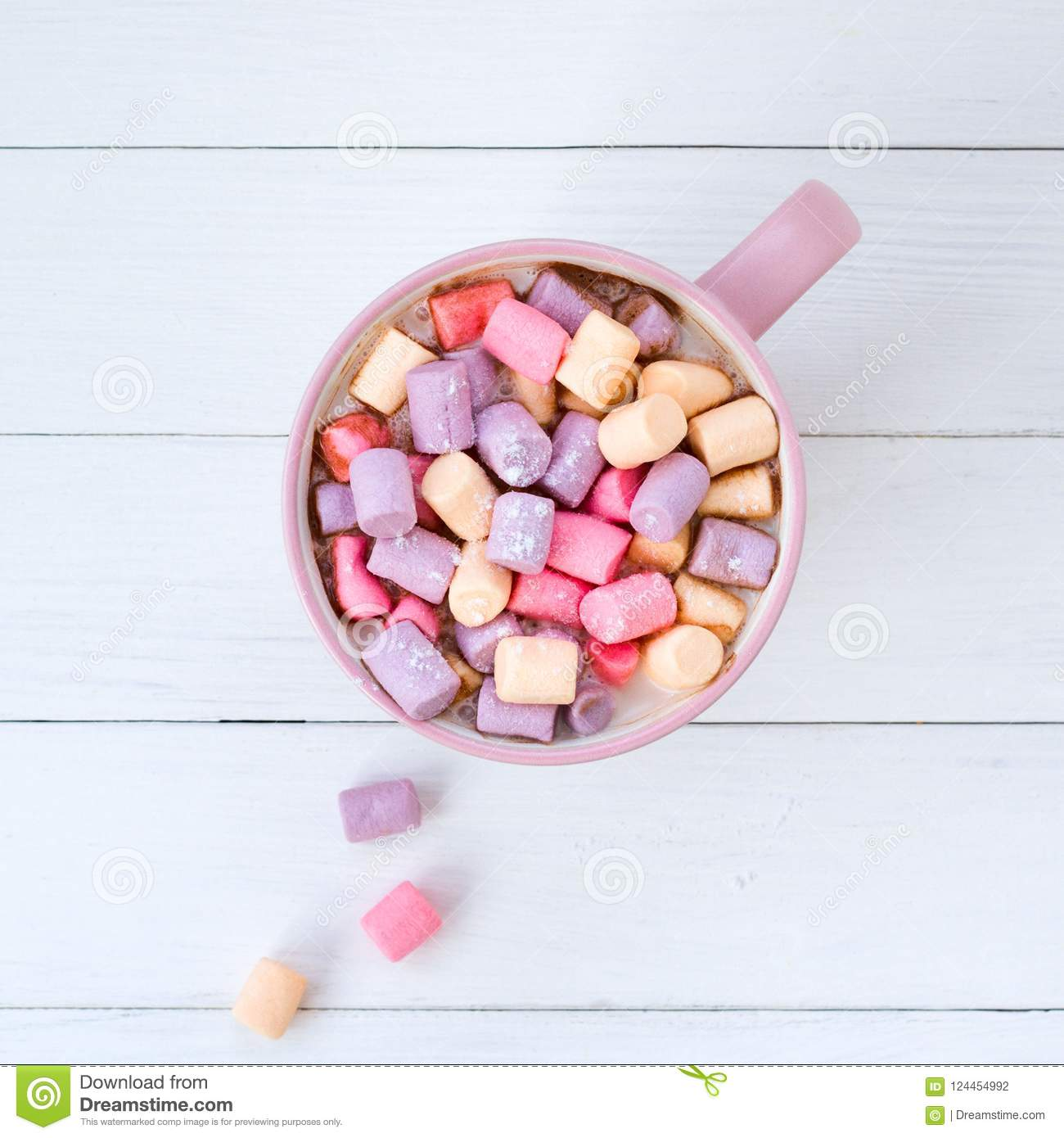 Christmas Colored Marshmallows With Cocoa Marshmallow Pink Cup Stock Photo Image Of