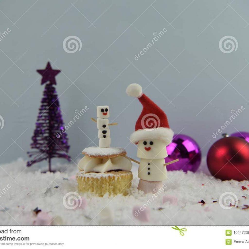 Christmas Colored Marshmallows With Food Photography Using Shaped As Snowman And