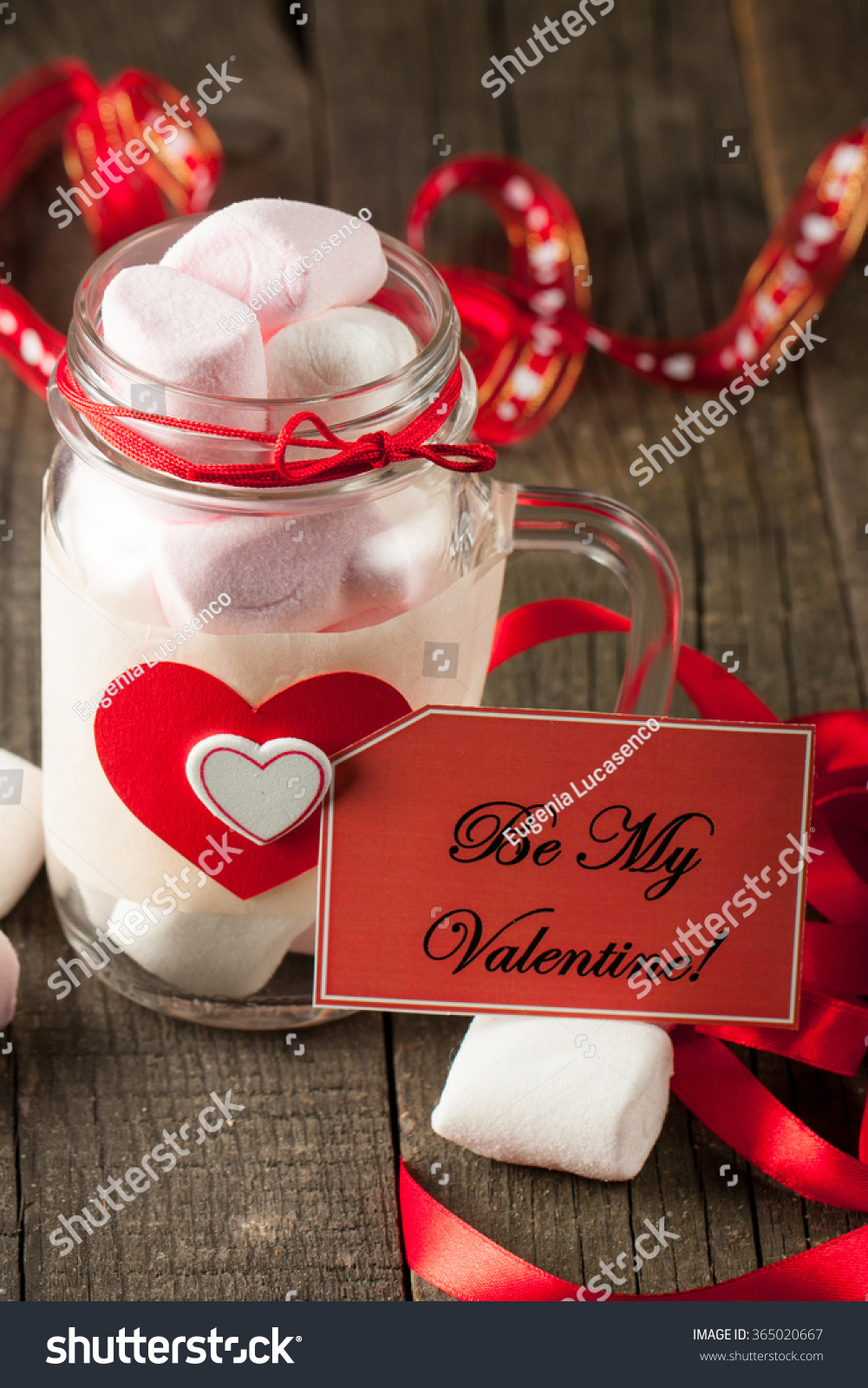 Christmas Colored Marshmallows With Jar On Wooden Background Stock Photo Edit Now