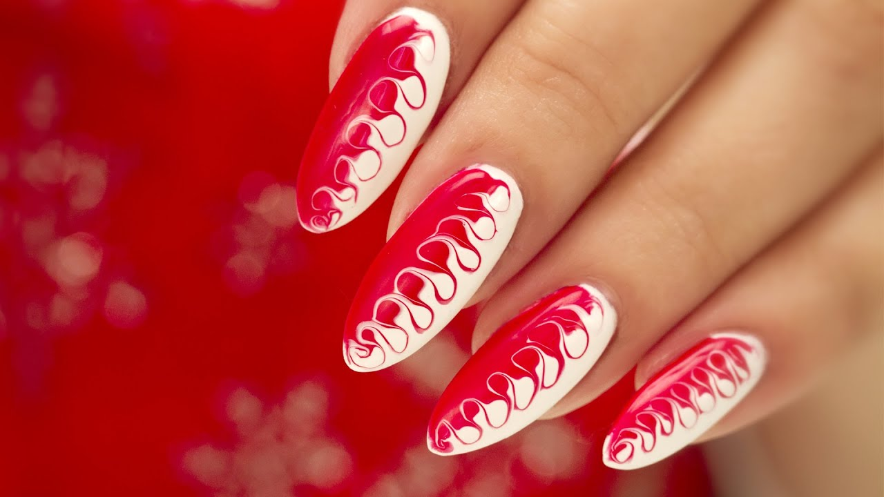 Christmas Colored Nails With Gel Nail Art Two Tone Swirl YouTube