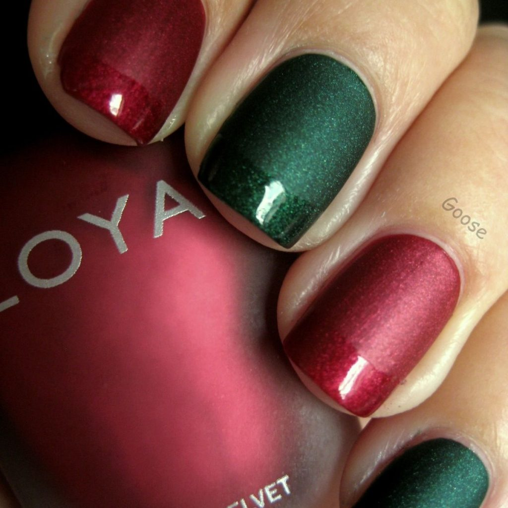 Christmas Colored Nails With Matte Colors Green Red Top Tips Clear Coat To