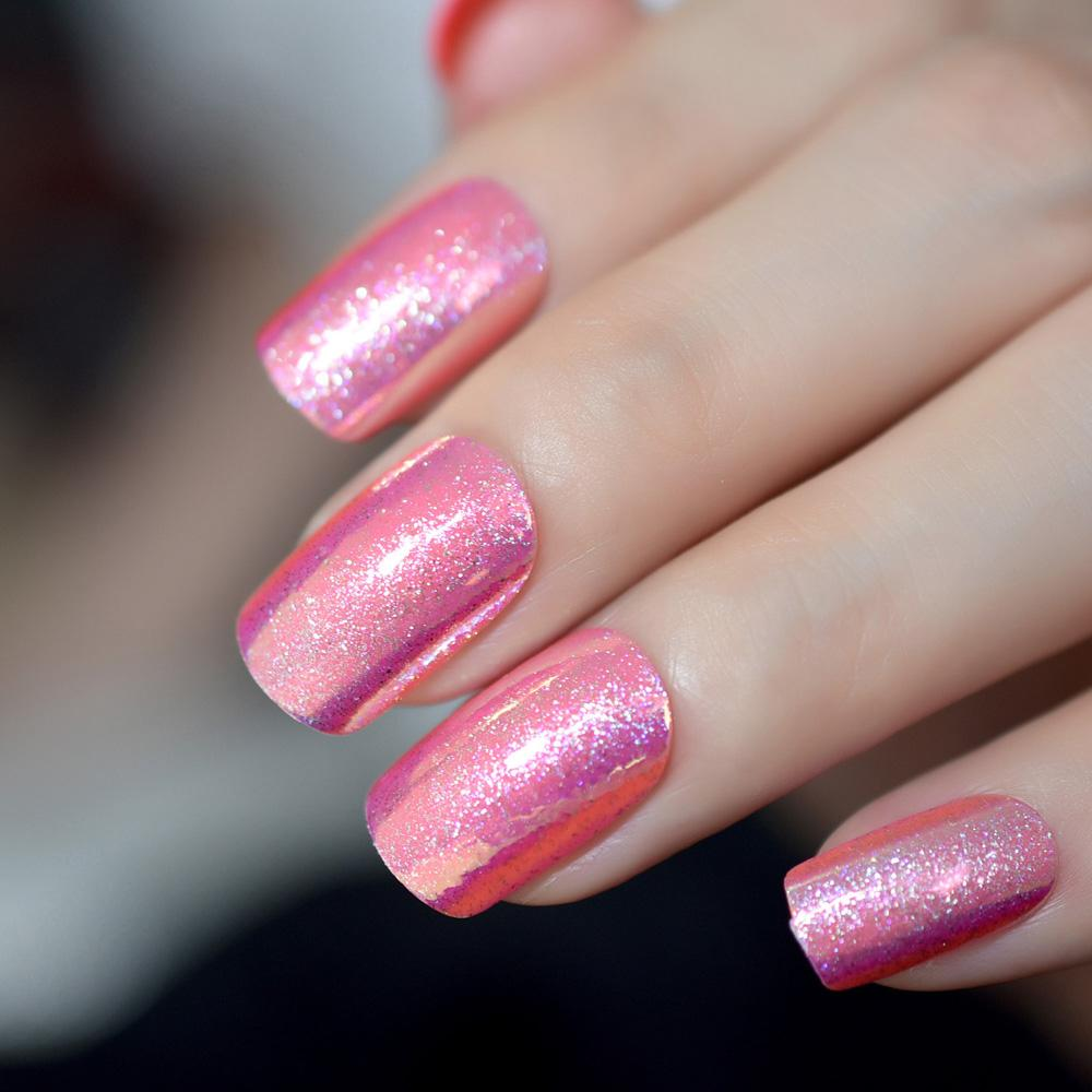 Christmas Colored Nails With Unicorn Chrome Press On Rose Red Glitter Long Nail