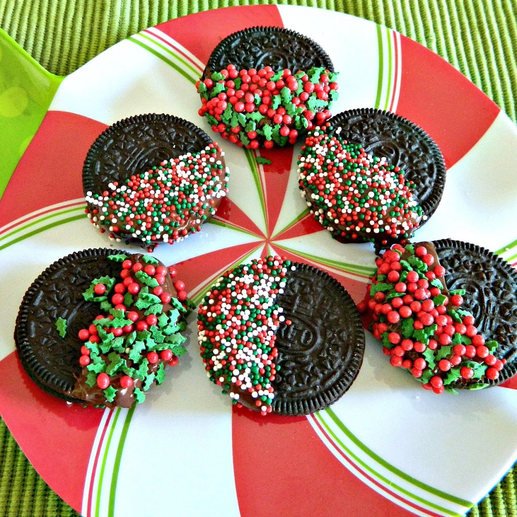 Christmas Colored Nonpareils With 3 Ingredient Step Oreo Dipped Cookies