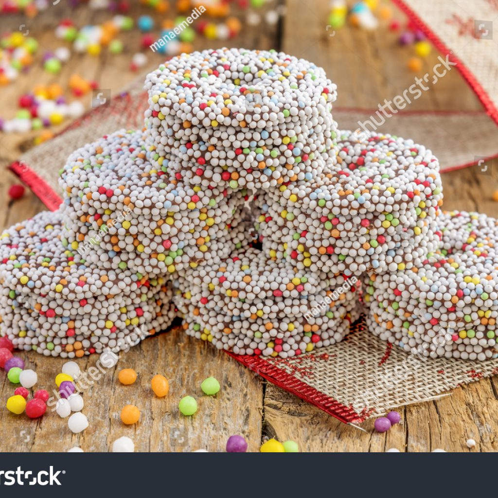 Christmas Colored Nonpareils With Chocolate Rings Decoration On Stock Photo Edit