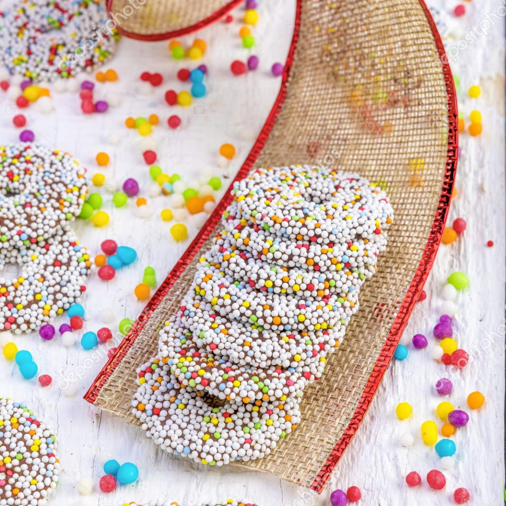 Christmas Colored Nonpareils With Chocolate Rings Decoration Stock Photo