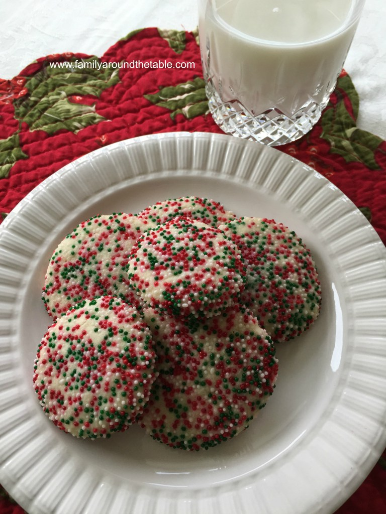 Christmas Colored Nonpareils With Sprinkle Cookies Family Around The Table