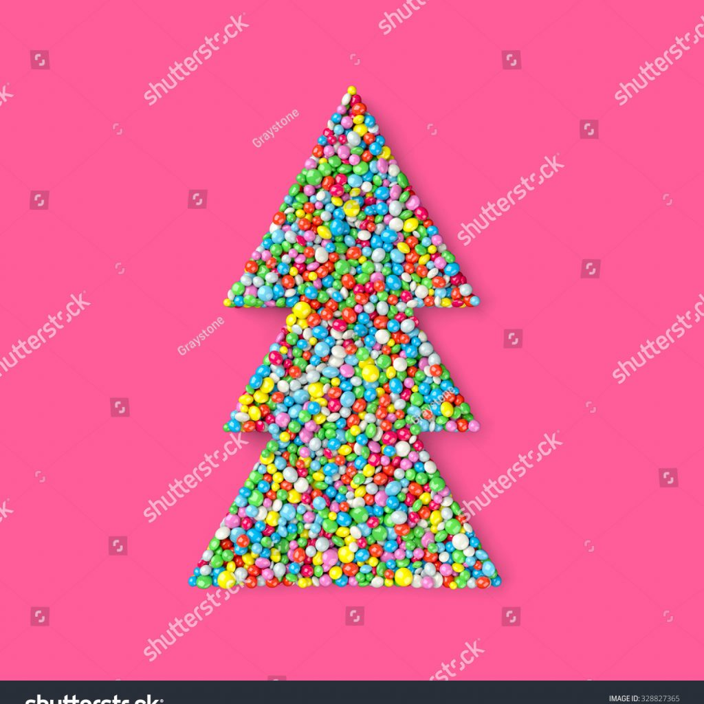 Christmas Colored Nonpareils With Tree Coated Different Colors Stock Illustration
