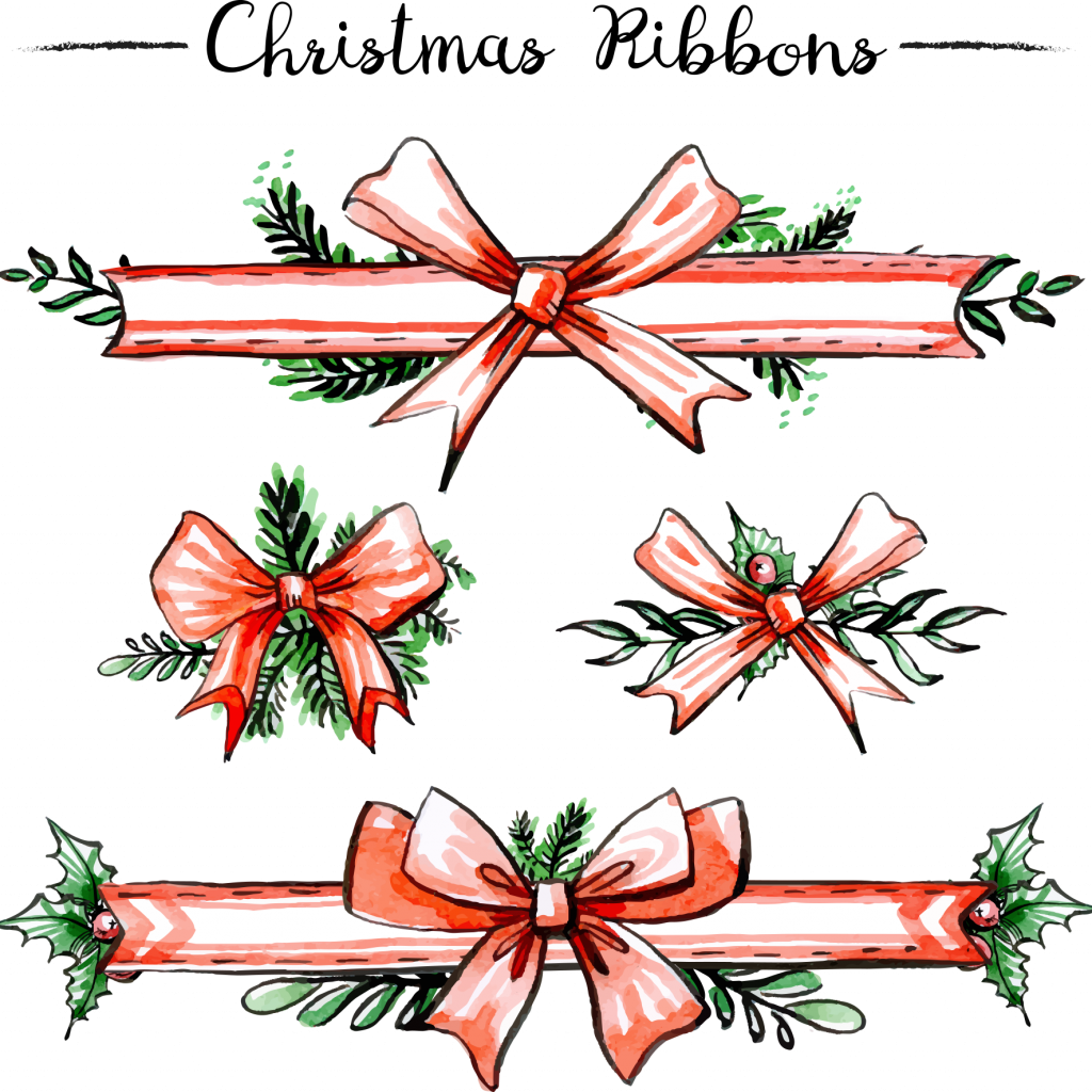 Christmas Colored Ribbon With Euclidean Vector Ornament
