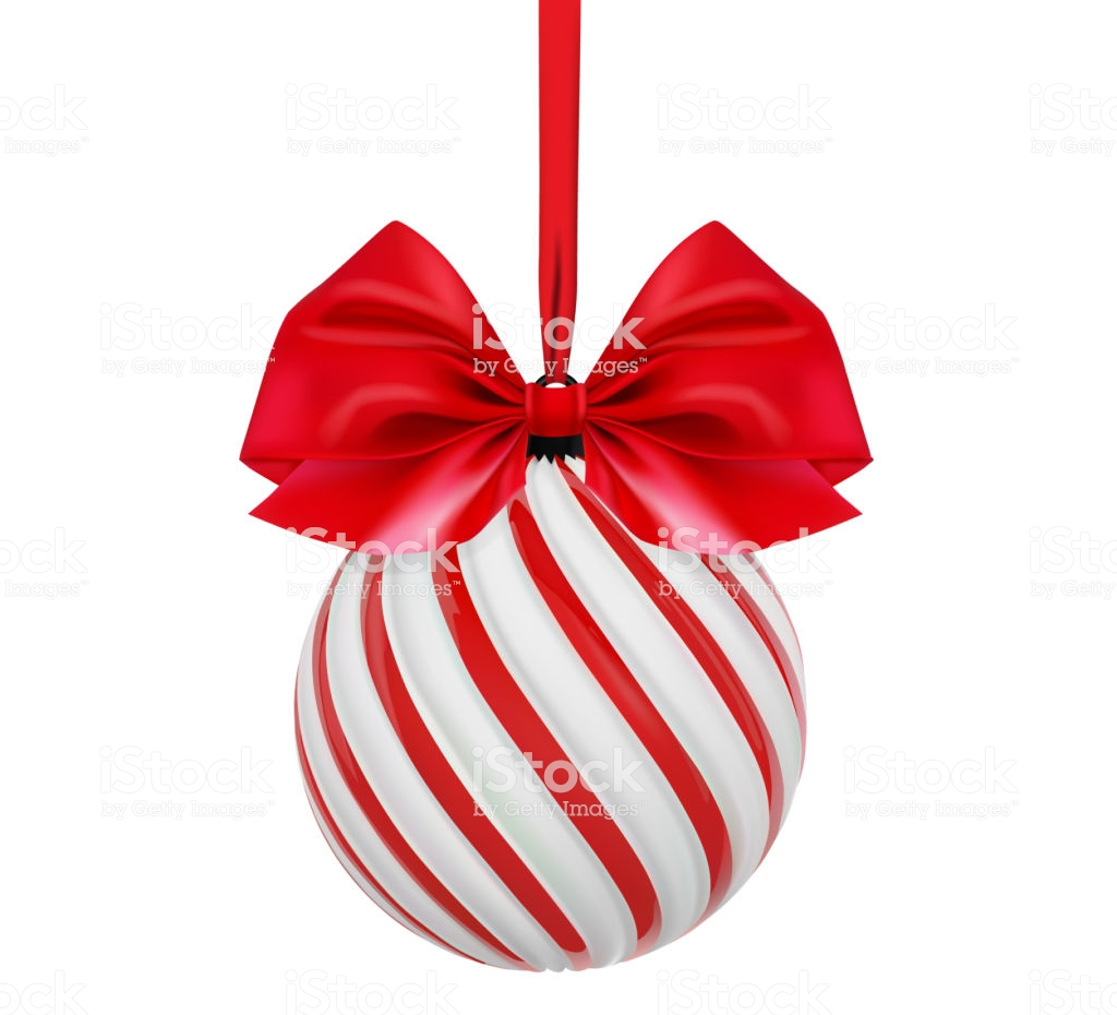 Christmas Colored Ribbon With Vector Ball In White And Red Color Bow