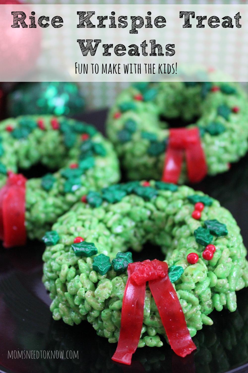 Christmas Colored Rice Crispy Treats With Krispie Idea Wreaths