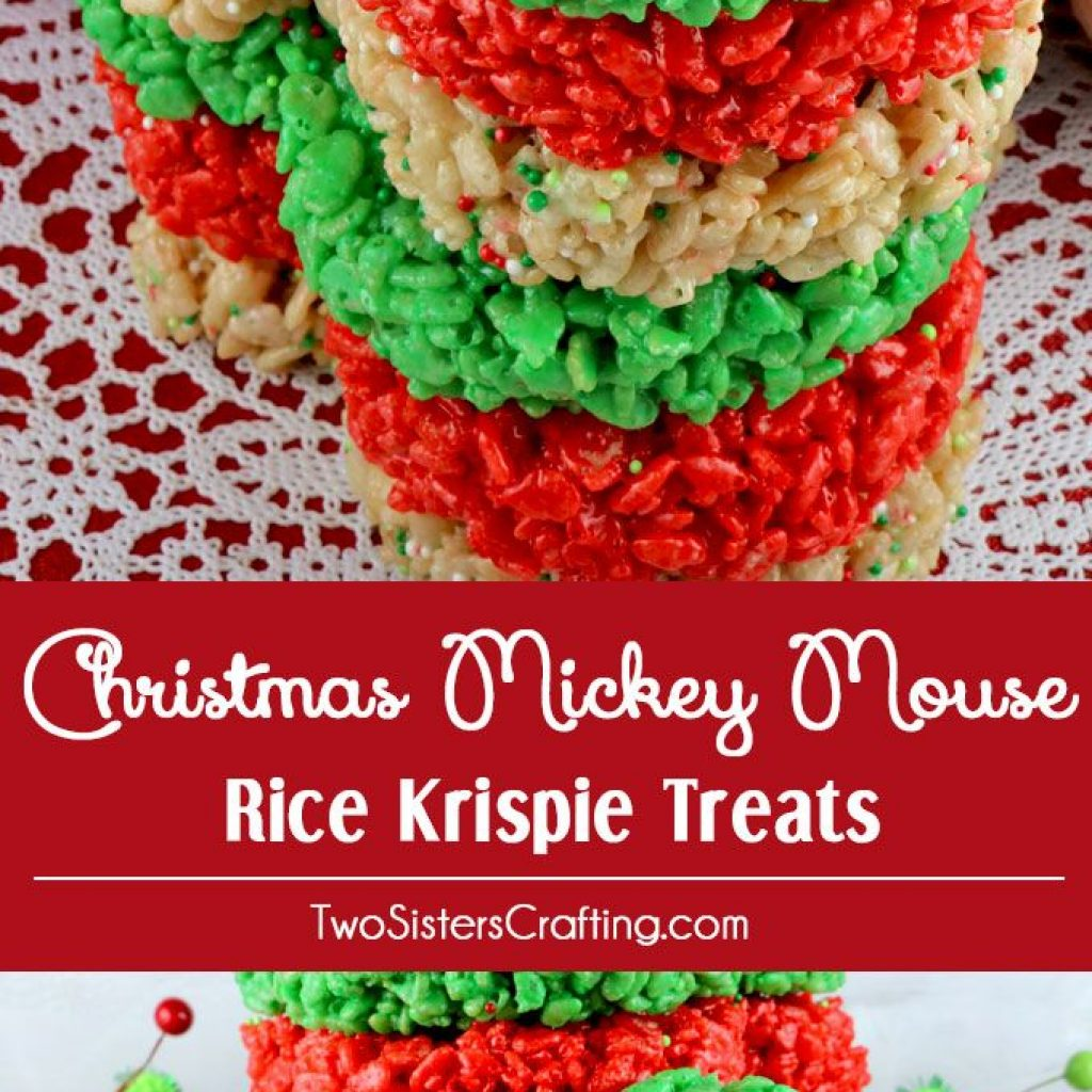 Christmas Colored Rice Crispy Treats With Mickey Mouse Krispie Cookie
