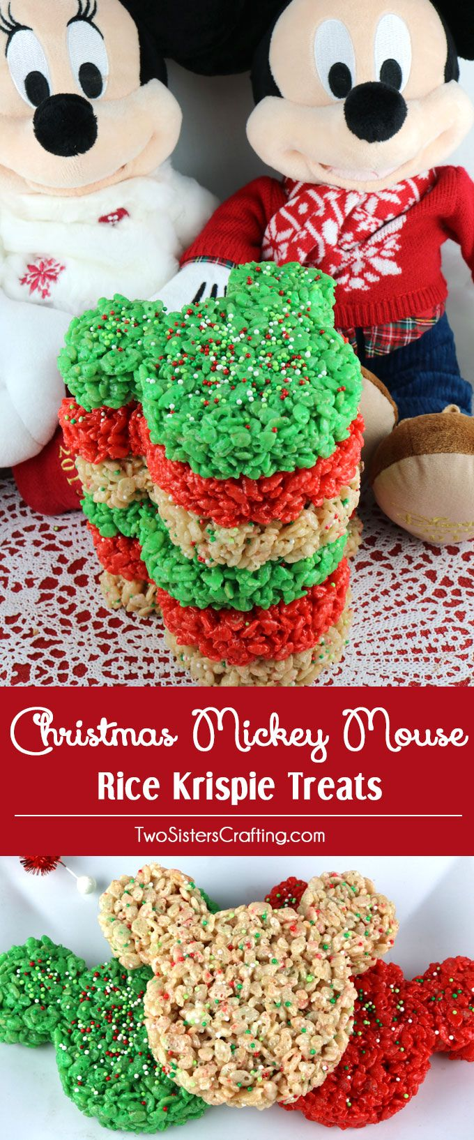 Christmas Colored Rice Crispy Treats With Mickey Mouse Krispie Pinterest