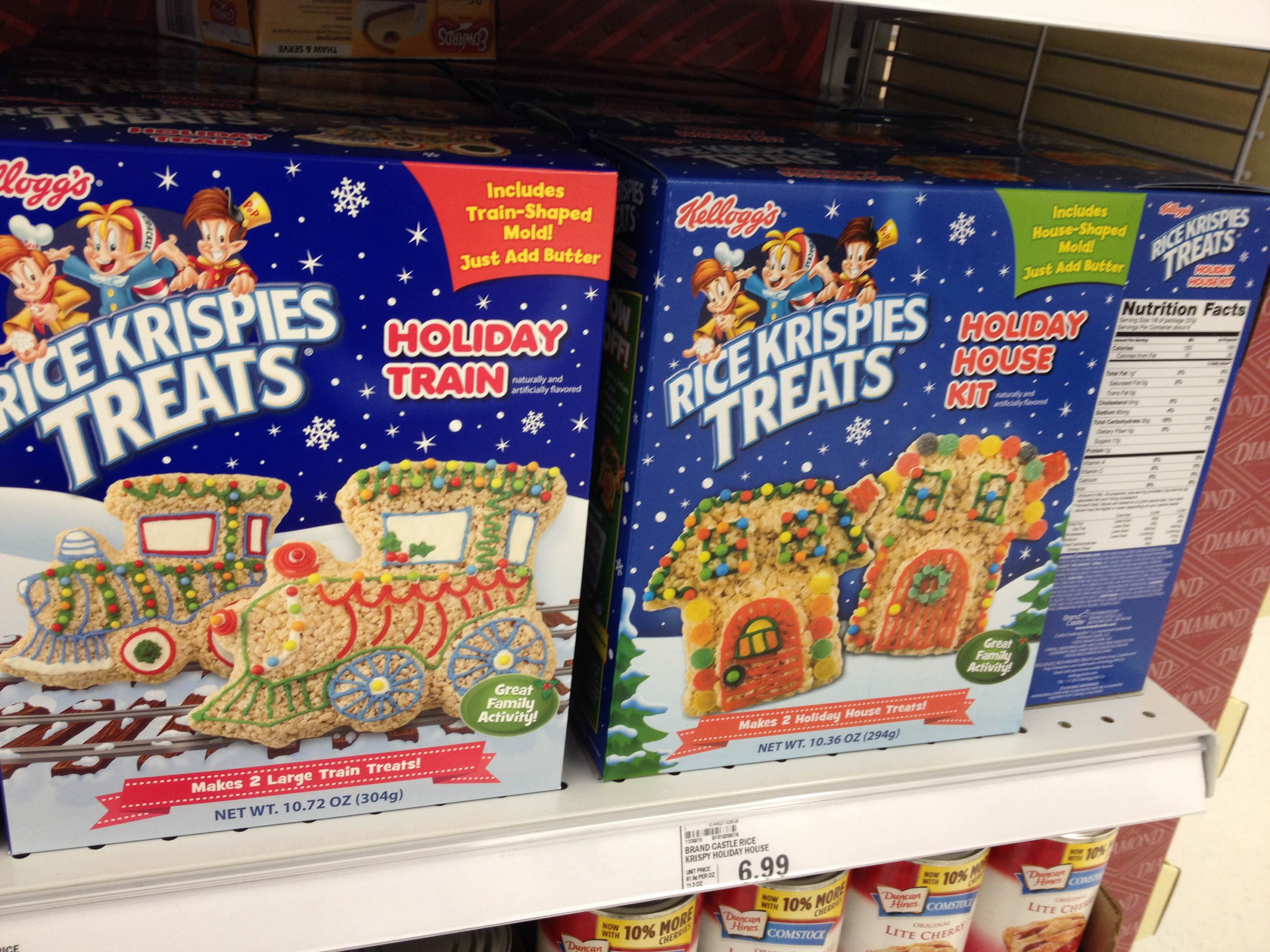 Christmas Colored Rice Crispy Treats With Spooned Spotted Krispies Holiday Train And