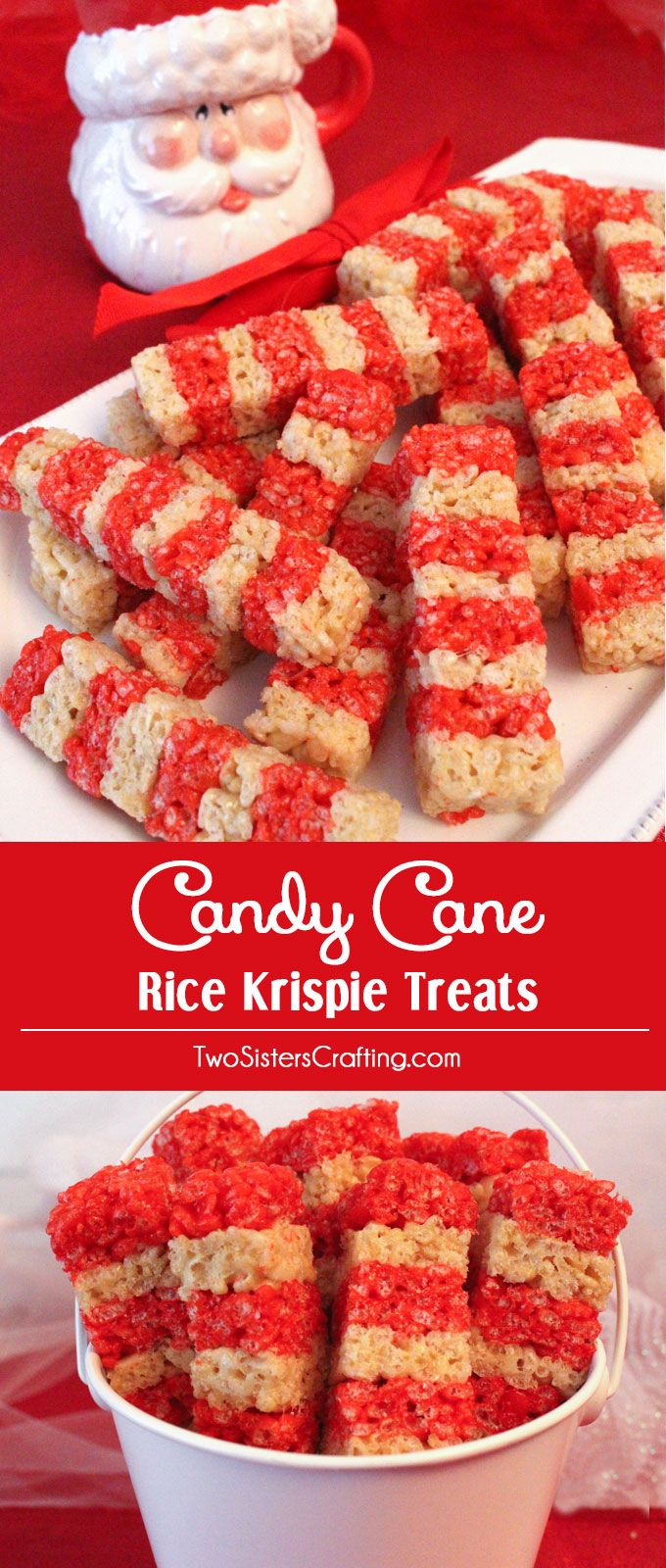 Christmas Colored Rice Krispie Treats With Candy Cane Pinterest Desserts