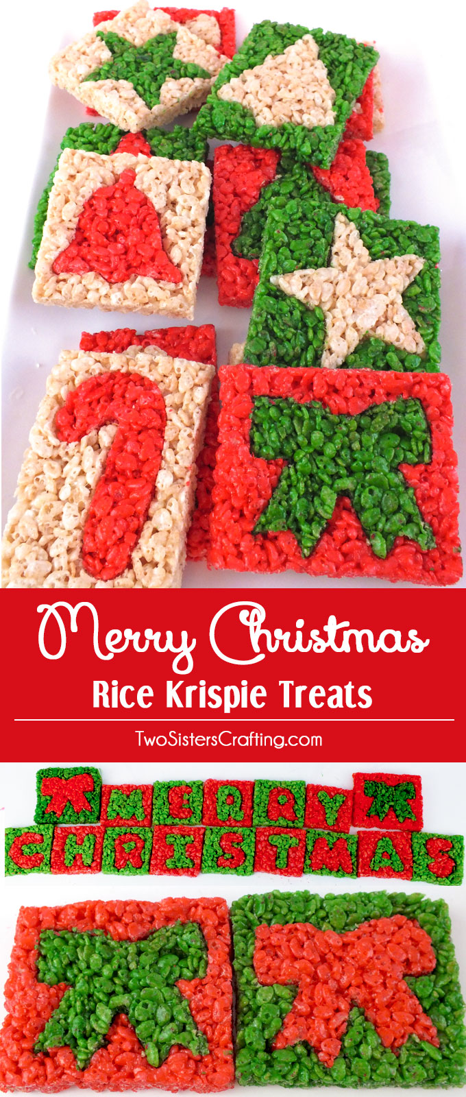 Christmas Colored Rice Krispie Treats With Merry Two Sisters