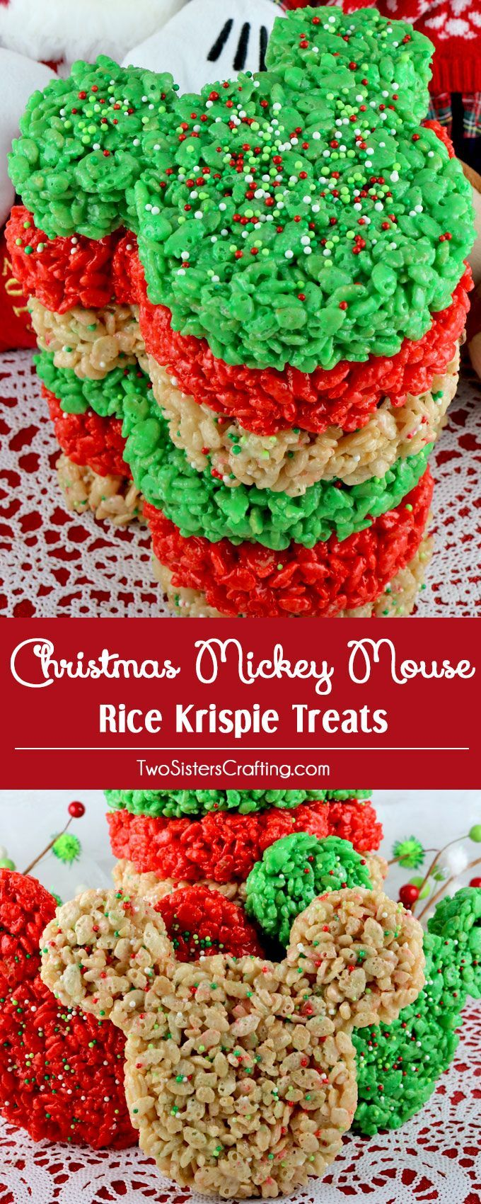 Christmas Colored Rice Krispie Treats With Mickey Mouse Cookie