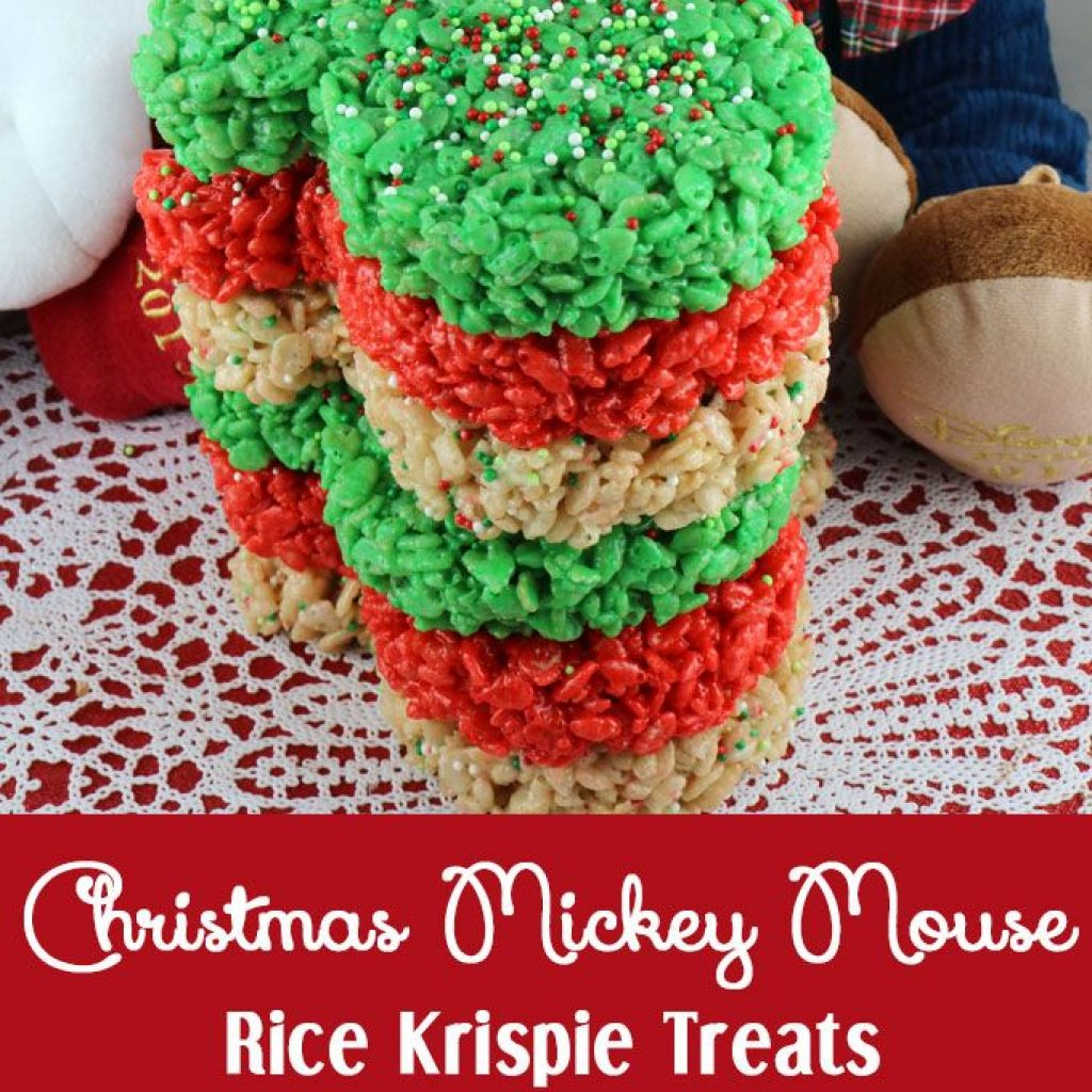 Christmas Colored Rice Krispie Treats With Mickey Mouse Pinterest