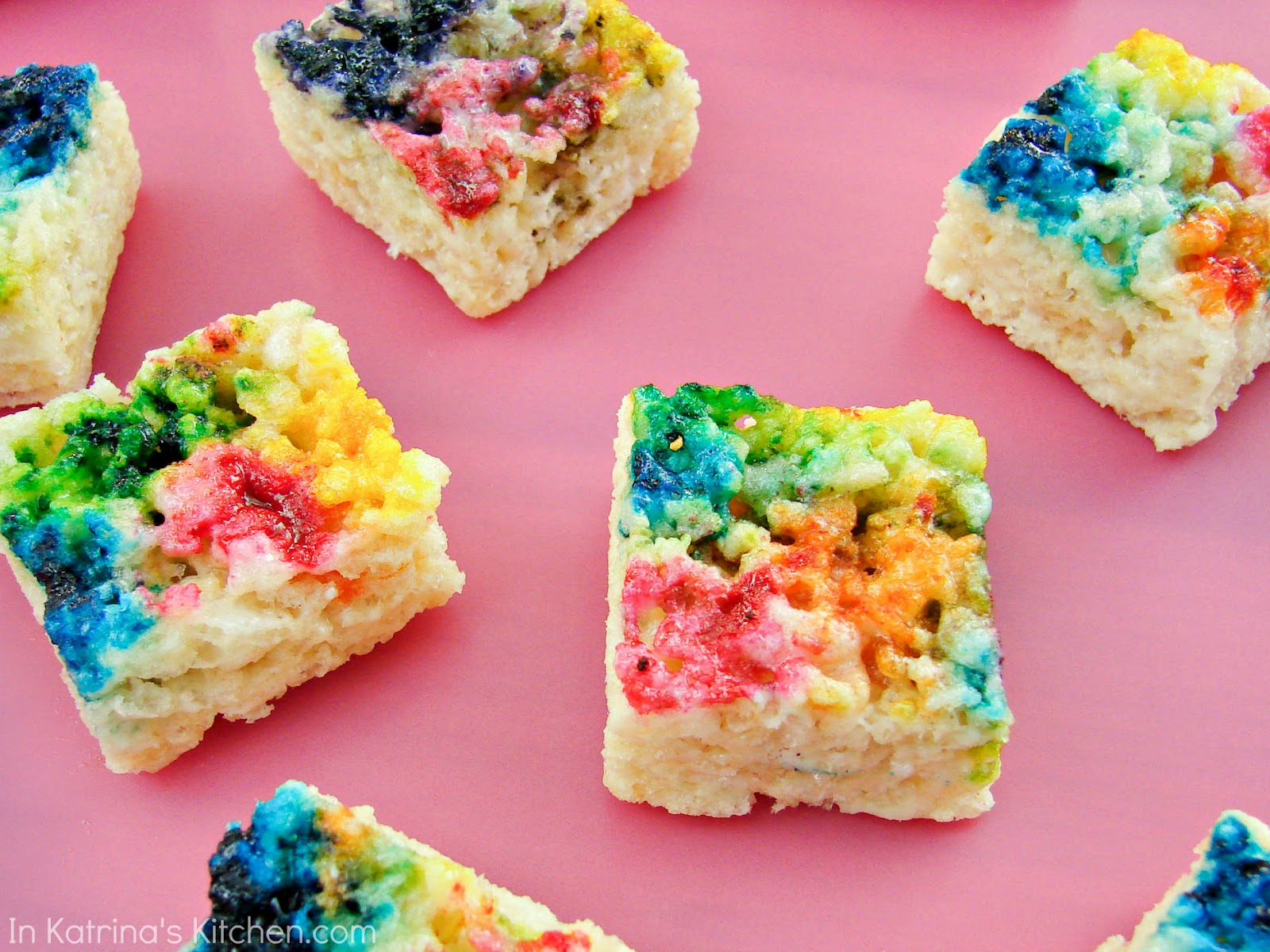 Christmas Colored Rice Krispie Treats With Tie Dyed