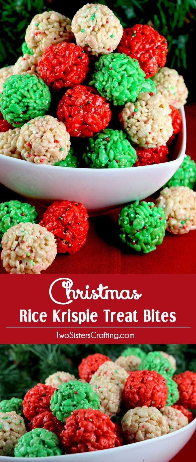 Christmas Colored Rice Krispie Treats With Treat Bites Pinterest