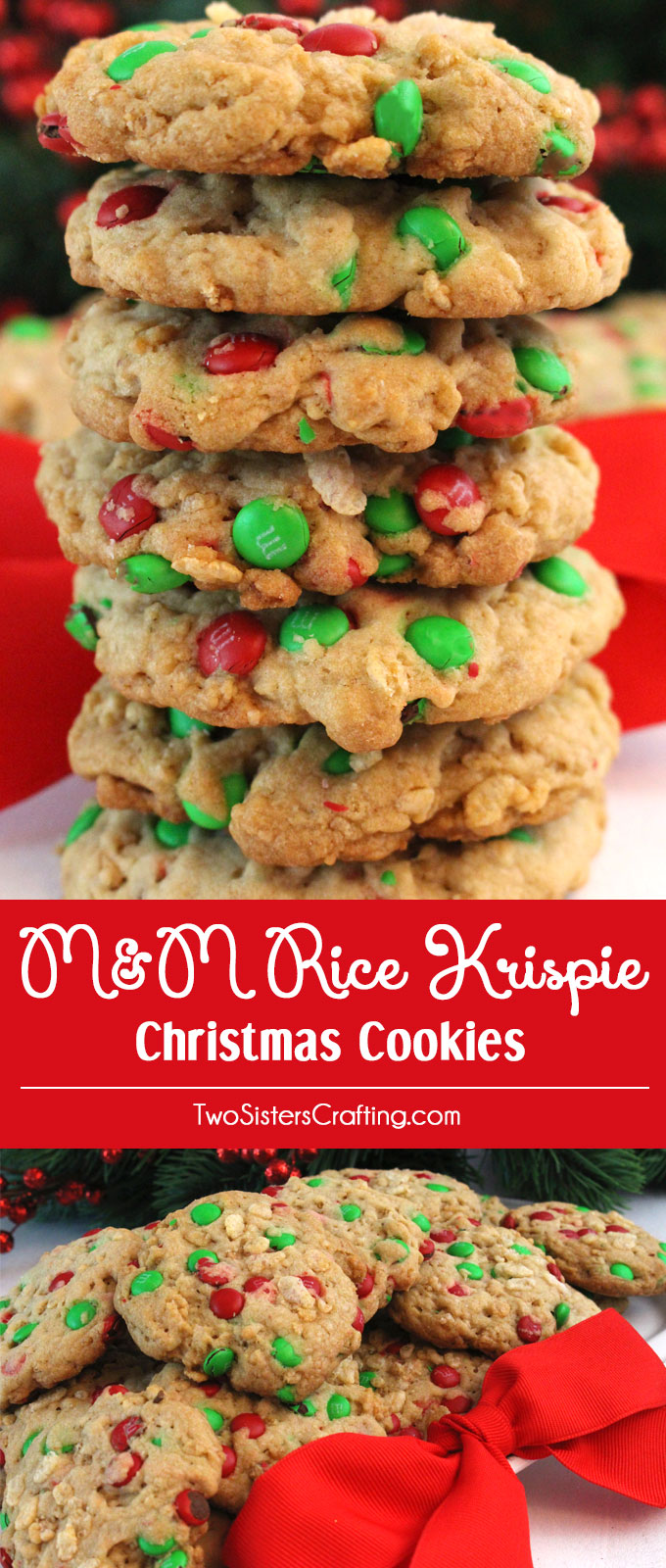 Christmas Colored Rice Krispies With M Krispie Cookies Two Sisters