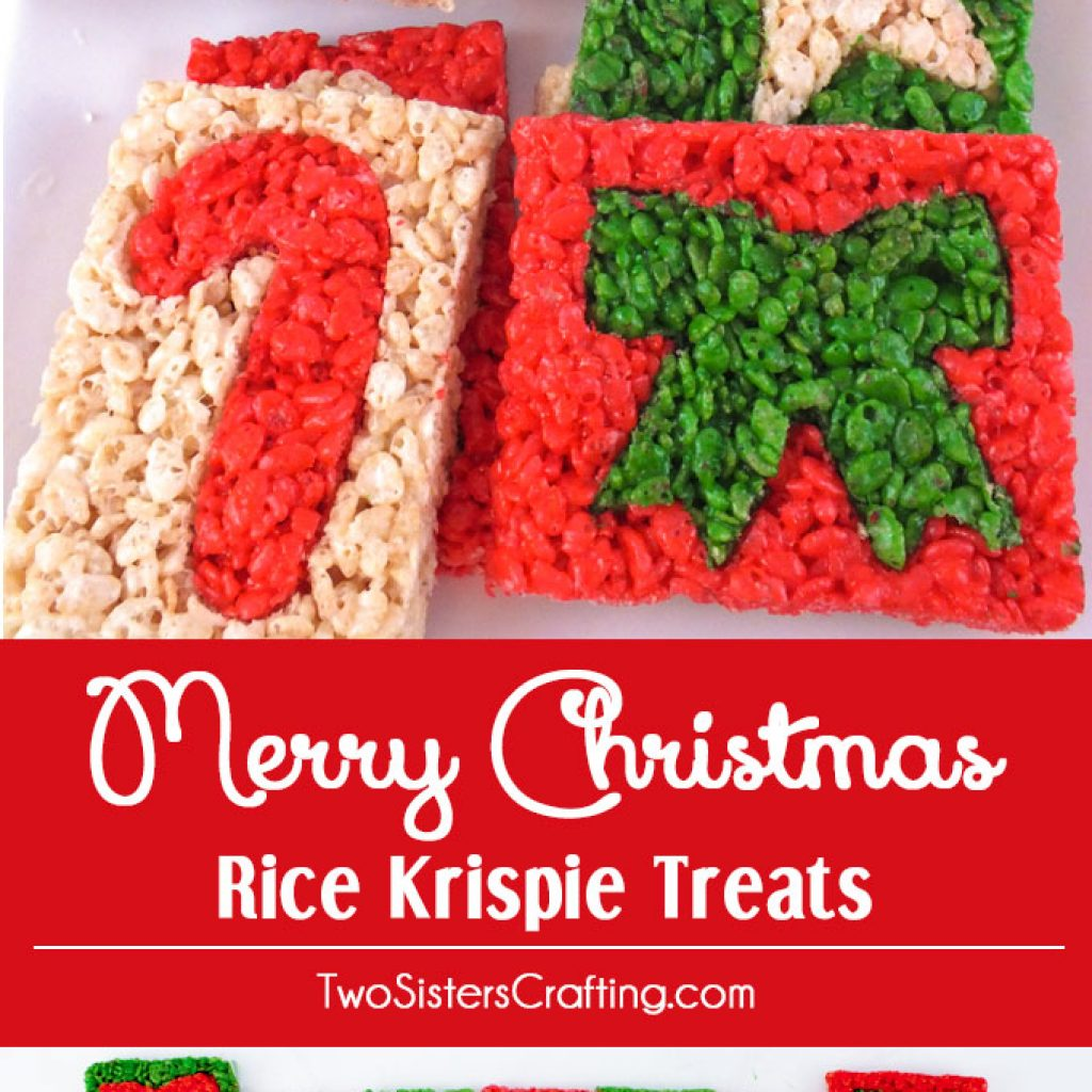 Christmas Colored Rice Krispies With Merry Krispie Treats Two Sisters