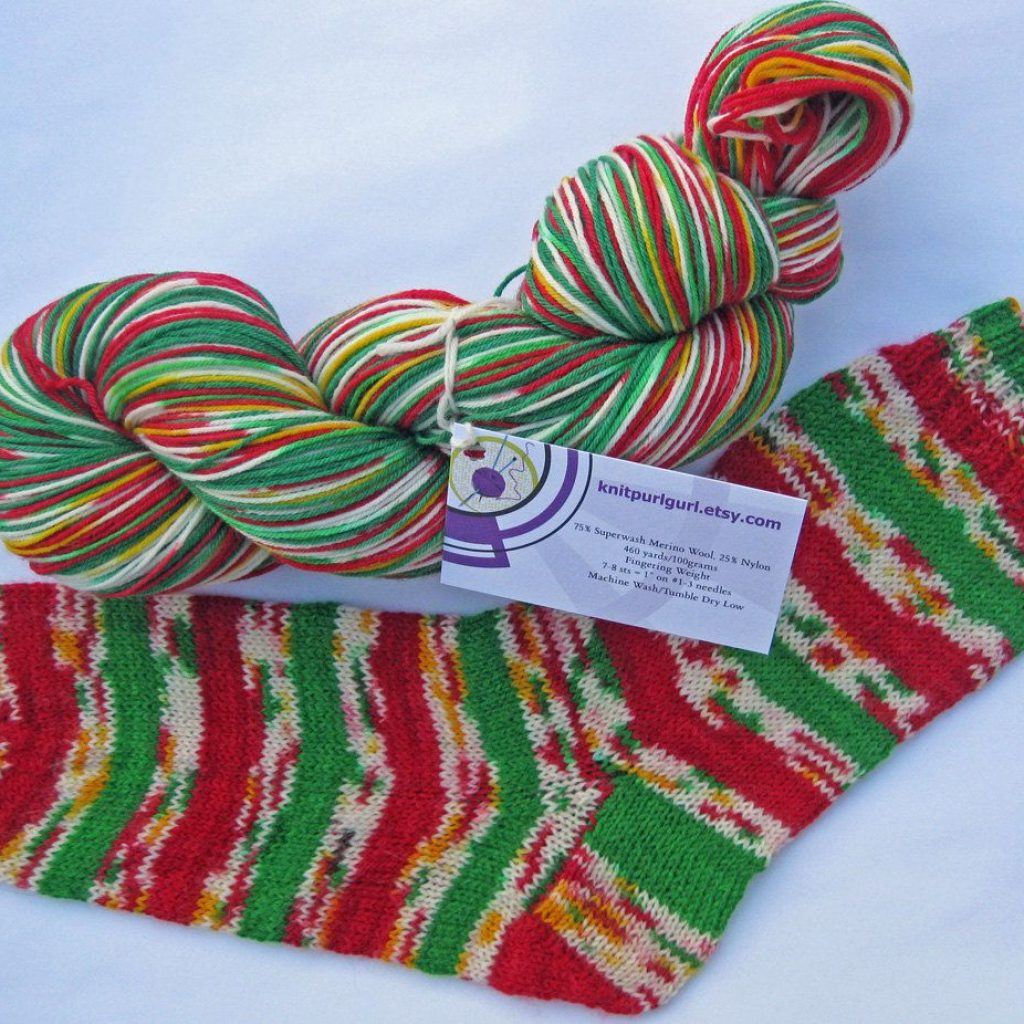 Christmas Colored Sock Yarn With Confetti Http Www Etsy Com Shop Knitpurlgurl