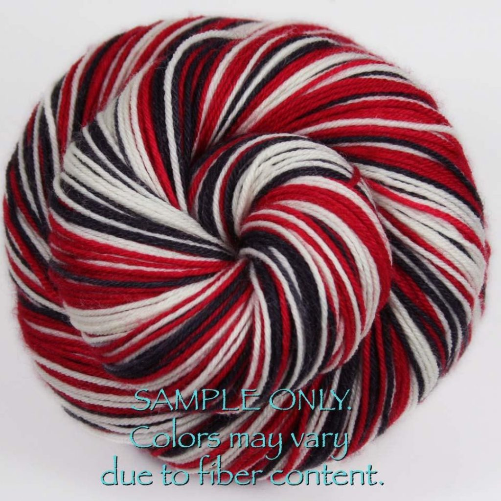 Christmas Colored Sock Yarn With Dyed To Order RED BLACK WHITE Hand Sports Team Self Striping